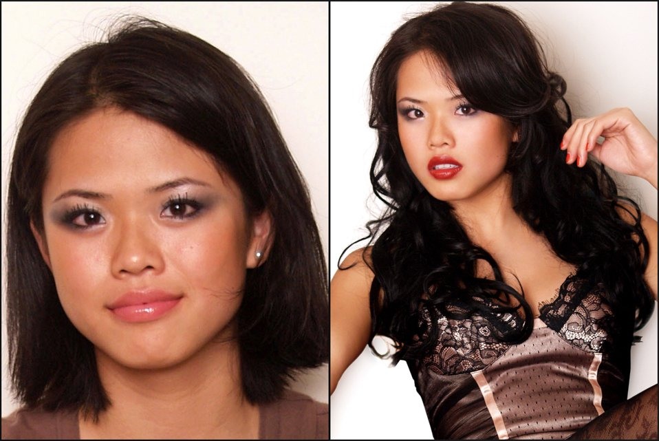 Before and After Hair Extensions Asian model