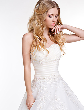 blonde model in wedding dress